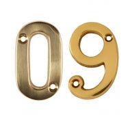 2 Inch Polished Brass Screw Fix Door Numbers