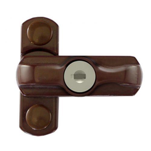 Brown Lockable Window Lock (Sash Jammer)
