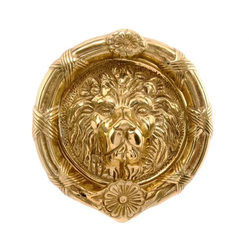 9 InchBrass Round Lions Head Door Knocker
