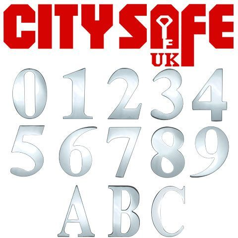 "CitySafe 3"" Mirror Polished Self Adhesive Door Number / Letter"
