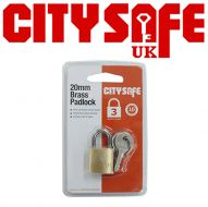 CitySafe 20mm Brass Padlock Standard shackle