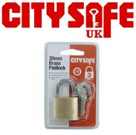CitySafe 30mm Brass Padlock Standard shackle