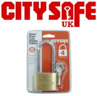 CitySafe 50mm Brass Padlock Long Shackle