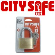 CitySafe 60mm Brass Padlock Standard Shackle
