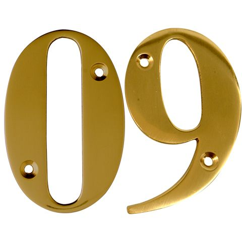 Polished Brass Screw Fix Door Numbers