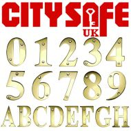 "CitySafe 3"" PVD Gold Screw Fixed Door Number / Letter"