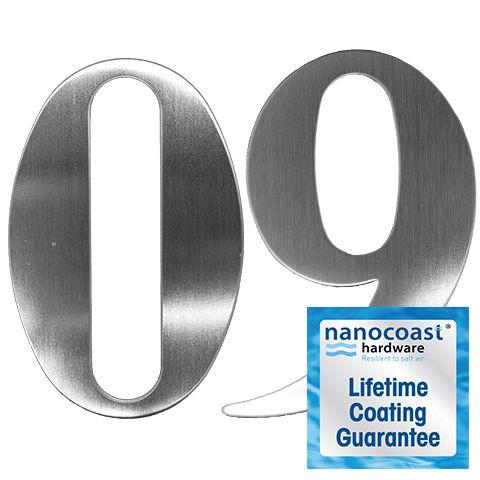 Satin Stainless Self Adhesive Door Numbers - Lifetime Coating Guarantee