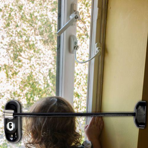 Black Lockable Window Restrictor - Black Cable