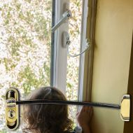 PVD Gold Lockable Window Restrictor - Black Cable