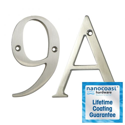 Satin Stainless Thin Screw Fix Door Numbers - Lifetime Coating Guarantee