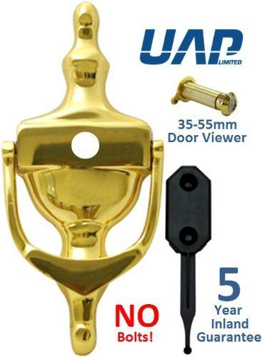"6"" PVD Gold Stainless Steel Hidden Fix Victorian Urn + Door Viewer - No Bolts on the Inside of the Door - Perfect for the Coast"